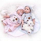 Yeslln Reborn Babys Lebensecht Silikon Reborn Puppe Spielzeug 55cm Zwillinge mit Schnullerflasche