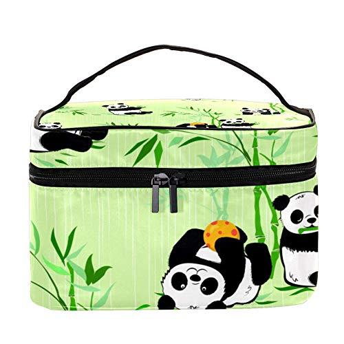 ANINILY Petits Pandas et Plantes de Bambou Multifonction Organiseur de Toilettes Portable Voyage Sacs cosmétiques avec poche en maille