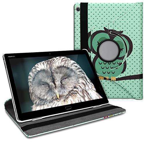 kwmobile Schutzhülle kompatibel mit Huawei MediaPad M3 Lite 10 - Hülle 360° - Tablet Cover Hülle - Eule Schlaf Türkis Braun Mintgrün
