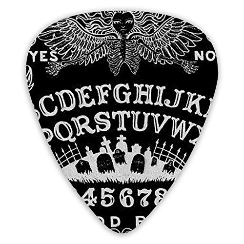 Guitar Picks Ouija Board Black Premium Celluloid Picks 12 Pack for Electric Guitar Acoustic Guitar Mandolin and Bass Includes Thin, Medium, Heavy Gauges