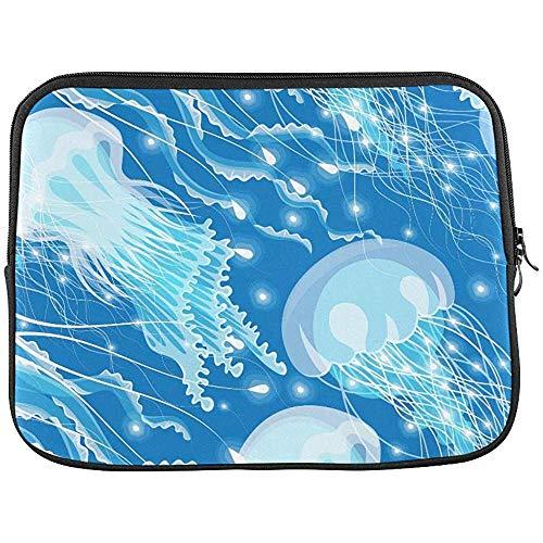 Schattige heldere frisse aquarel gloeiende duiken kwallen Aquarium leven sleeve zachte laptop tas zak zak
