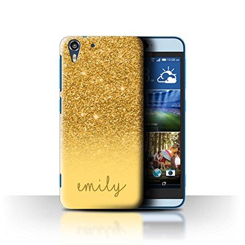 Personalisiert Hülle Für HTC Desire Eye LTE Individuell Glitter Effekt Gold Design Transparent Ultra Dünn Klar Hart Schutz Handyhülle Case