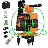 OMMO Laser Level, 3x360° Green Laser Levels for Construction, 12 Line 132ft Laser Level Self Leveling Tool Kit, Two Vertical and One Horizontal Line with Pulse Mode, Remote Controller Included