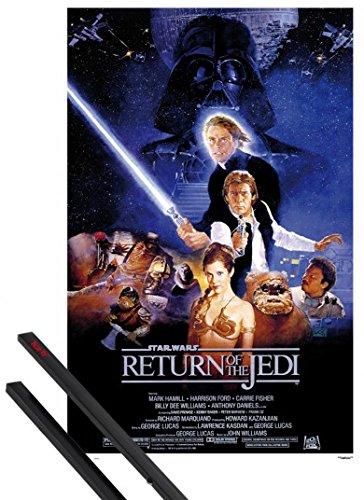 1art1 Star Wars Poster (91x61 cm) Episode VI, Die Rückkehr Der Jedi-Ritter, Filmplakat Inklusive EIN Paar Posterleisten, Schwarz