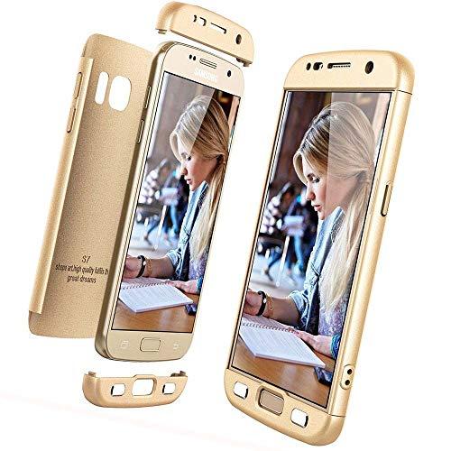 Preisvergleich Produktbild XCYYOO für Galaxy S7 Hülle Hardcase 3 in 1 Ultra Dünn 360 Full Body Schutz Schutzhülle Anti-Kratzer Elegant Matte Stoßfest Hart PC Skin Rückdeckel Glatte Rückseite Handyhülle -Gold