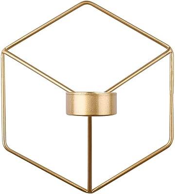 キャンドルホルダー、メタルキャンドルホルダー北欧スタイルの3D幾何学的燭台メタルウォールキャンドルホルダーホームデコレーションオーナメント(ゴールド)