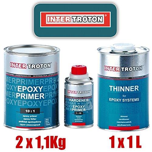 Troton 2X EPOXY GRUNDIERUNG 10:1 Primer 2K Inter EPOXID 1,1kg + 1x VERDÜNNUNG 1L
