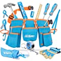 Hi-Spec 16 Piece Kid's Blue Tool Kit Set with Tool Belt. Real Metal DIY Hand Tools for Children & Starters Including Work Gloves, Dust Glasses & More