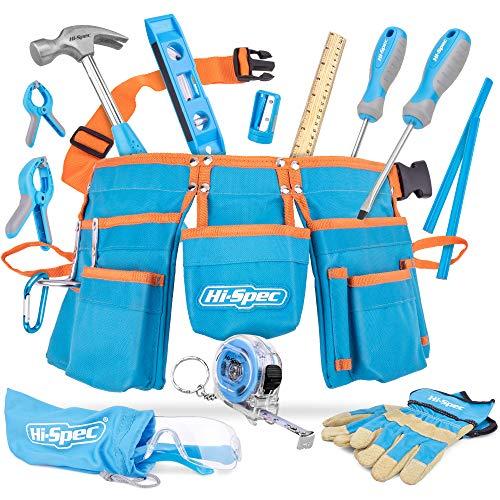Hi-Spec 16 Piece Kids Blue Tool Kit Set with Tool Belt. Real Metal DIY Hand Tools for Children & Starters Including Work Gloves, Dust Glasses & More