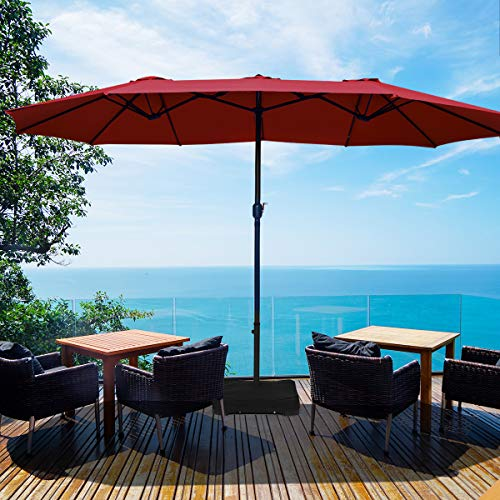 Tangkula 15 Ft Patio Double Sided Umbrella with Base, Outdoor Extra Large Market Umbrella with Crank Handle, Outdoor Twin Table Umbrella Base Included, Umbrella with Crank and Base (Wine)