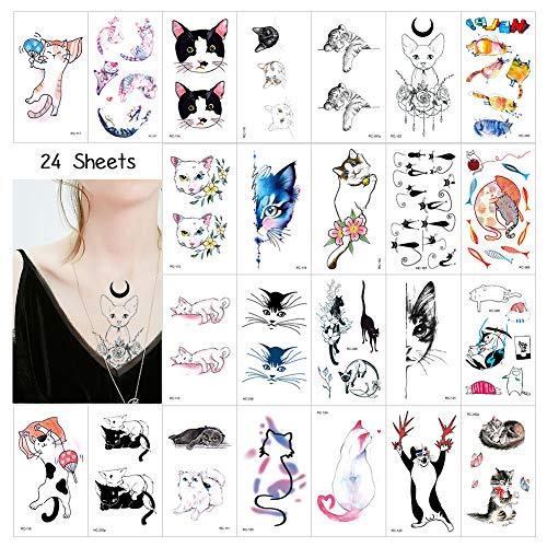 58 x Tatuajes Temporales Niños, Gato Calcomanias Tatuaje Temporal Pegatinas para Chicos Niñas niños Juegos Infantiles Fiesta de cumpleaños Regalo piñata, Artículos de Fiesta de Amante de los gatos