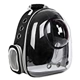 Cat Backpack Carriers Bag, Dog Backpack, Pet Bubble Backpack for Small Cats Puppies Dogs Bunny, Airline-Approved Ventilate Transparent Capsule Backpack for Travel, Hiking and Outdoor Use (Black)