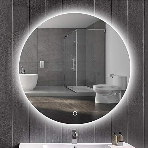 GETZ Espejo de Baño Redondo con Iluminación LED, Espejo de Maquillaje Retroiluminado con Sensor de Control Táctil, 3 Colores de Luces y Regulable, IP65 a Prueba de Agua