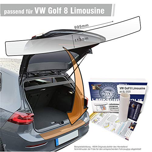 Lackschutzshop - Passform Lackschutzfolie kompatibel mit Ladekantenschutz passend für VW Golf 8 / VIII Limousine – transparent 150µm