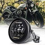 QINGQING Faro de Motocicleta Universal 66W Faro de 5.75 Pulgadas,con DRL + Cubo de Carcasa de Faro,6500lm,para Harley Honda Suziki