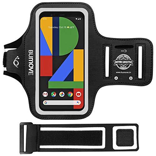 Pixel 4 XL/3a XL/3 XL/2 XL Armband, BUMOVE Gym Running Workouts Sports Phone Arm Band for Google Pixel 4XL, 3aXL, 3XL, 2XL with Key/Card Holder (Black)