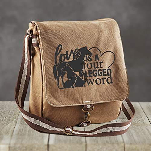 Canvas Messenger Bag - Love is a four legged word