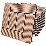 Deuba Set de 11 baldosas losas de WPC Terracota Modelo 'Mosaico' para jardín terraza Exterior Sistema de Encaje 30x30cm