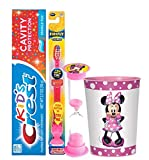 Girl Themed Licensed 4pc Bright Smile Oral Hygiene Bundles! Light Up Toothbrush, Toothpaste, Brushing Timer & Mouthwash Rinse Cup! Plus Dental Gift Bag & Tooth Saver Necklace! … (Minnie Mouse)