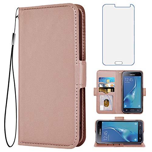 Compatible with Samsung Galaxy J3 2016/J 3 V/J36V/Sky/Amp Prime Wallet Case with Tempered Glass Screen Protector Flip Cover Card Holder Phone Cases for Glaxay Sol J3V JV3 J36 6 J320V J320A Rose Gold
