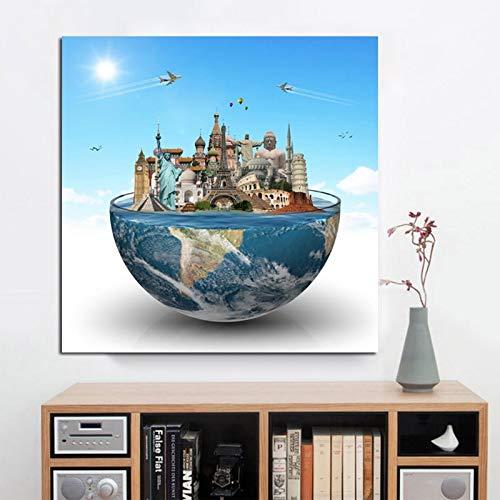 sanzangtang Rahmenloses Gemälde Abstraktes berühmtes Gebäude Big Ben Eiffelturm Globusplakat und DruckwandkunstCGQ5971 20X20cm