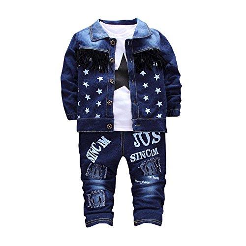 sunnymi Kinderkleidung 3pcs Star Troddel Jeansjacke + Top+ Brief Denim Jeans Hose Anzug (Blau, 12 Monat)