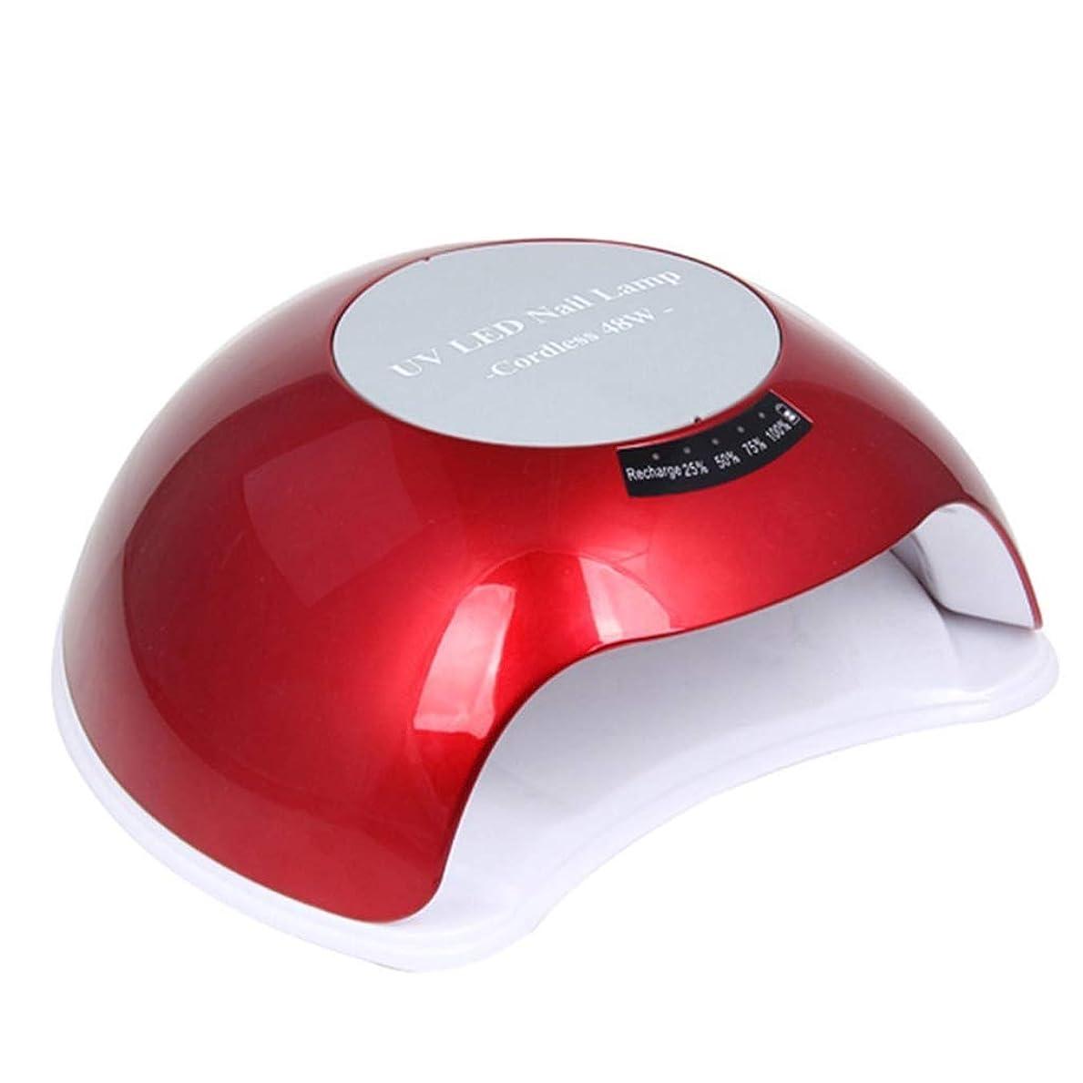 スリップシューズサイズ太いYalztc-zyq16 Led省エネランプダブルランプモードネイルドライヤー48ワット自動光線療法機用ネイルグルー乾燥31ランプビーズをすばやく乾燥すべてのグルー (色 : 赤)