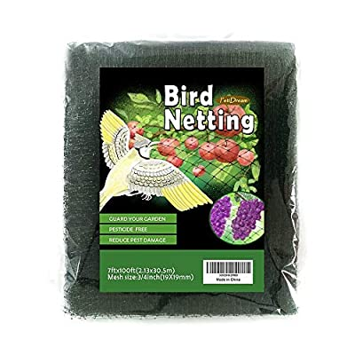 PetiDream Invisible Garden Netting-Protect Plants,Trees,Cropsand Vegetables,Fruits from Birds and Hawks in 7'x 100',Black