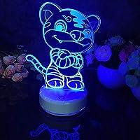 リモコン、Led 3Dナイトライトタイガーパターンフィギュア常夜灯子供の寝室の装飾デスクランプ16色