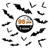 Kidtion 96 PCS Halloween 3D Bats 2021 Upgraded, 5 Different Sizes Halloween Decorations Indoor DIY Party Supplies, Realistic PVC Scary Black Bat Sticker, Bat Wall Stickers Decals, Party Supplies