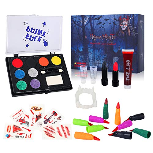 Auney Face Paint Kit for Kids, Halloween Costume Makeup Large Water Based Paints 8 Colors Professional Face Painting Palette Family Makeup Kit