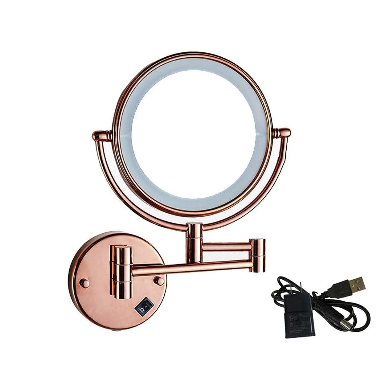 解釈的酔う災害.化粧鏡 ウォールマウントミラー - LEDライト付き化粧鏡8インチ3X拡大鏡両面ラウンドバスルーム360°回転折りたたみ式アーム ED化粧鏡1倍/ 2倍/ 3倍/ 5倍/ 10倍拡大鏡ポ (Color : USB)