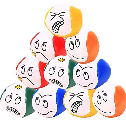 Liuer Jonglierbälle für Anfänger, 12PCS Jonglierball Set Kreative Lustige Pädagogische Jonglierbälle zum Ballspielen Jonglier-Set für Erwachsene(Emoji-Expression Muster)