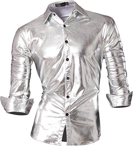 jeansian Herren Freizeit Hemden Bronzing Slim Button Down Long Sleeves Dress Shirts Tops Z036 Silver S