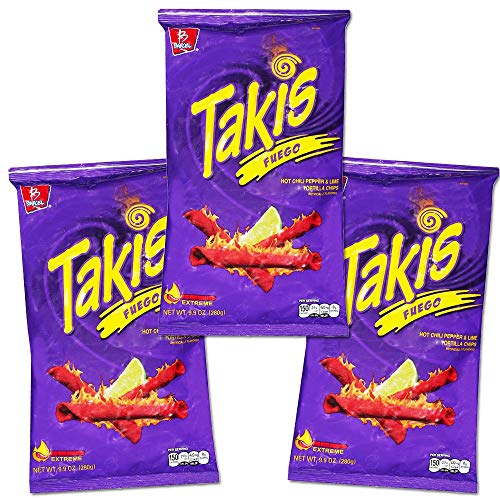 Takis Fuego Family Size Party Pack -- 29.7 Ounces Total (3 Bags, 9.9 Ounces Each) (Family Party Pack -- 29.7 Ounces) - SET OF 4