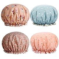 Minkissy シャワー 帽子お風呂 キャップ 防水 化粧帽 シャワー用に 浴用帽子 便利 旅行セット 4枚入