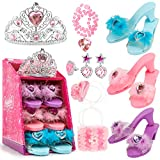 Jaolex Princess Toddler Dress Up Shoes and Pretend Jewelry Toys Accessories Set -3 Pairs of Shoes with Tiara Crown Earrings Necklaces Ring Handbag Role Play Collection Shoes Set for Girls