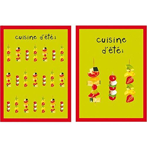 Incidence Paris 83032 Torchons Cuisine d'été Set de 2 assortis Vert anis et rouge Coton 50 x 70 cm