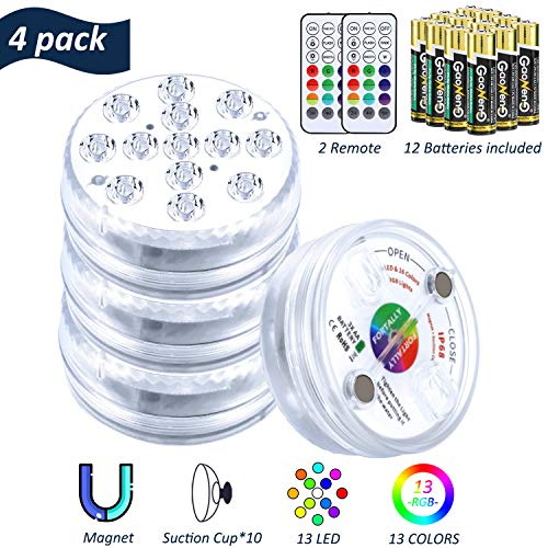 FORTALLY Submersible LED Lights with Magnet & Suction Cups, RF Remote Pool Lights IP68 Waterproof with AA Battery, Underwater Timing 13 LED Hot Tub Lights for Pool, Bathtub, Shower, Party (4 Pack)