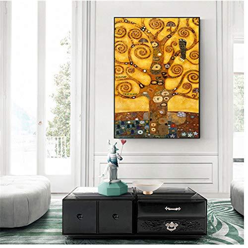 Gustav Klimt Árbol de la vida Árbol de la Vida Famosa Cuadro Lienzo Impresión Lienzo Cuadro Cuadro Lienzo para Salón 50 x 75 cm Sin Marco