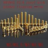 10Pcs G12.9 DIN912 Revestimiento de titanio Tornillo hexagonal dorado Tornillo M2 M2.5 M3 M4 M5 Zócalo hexagonal Tornillo de cabeza de tapón roscado de titanio Tornillo, M4x10mm