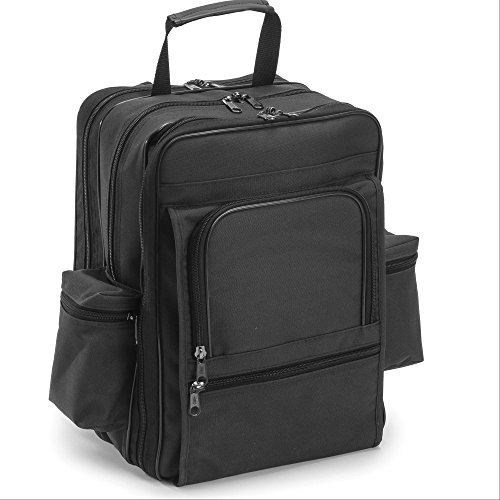 Hopkins EZ-View Deluxe Home Care Backpack, Waterproof, Ergonomic Straps, Lockable Zippers, Laptop Sleeve, Multiple Storage Compartments, Black, 11.5 In. x 9 In. x 16 In.