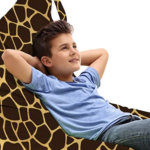 ABAKUHAUS Giraffe Zitzak, Abstract Animal Skin Design, Veel Ruimte om Zacht Speelgoed als Knuffels in op te Bergen, met Handvat, Dark Brown Sand Brown