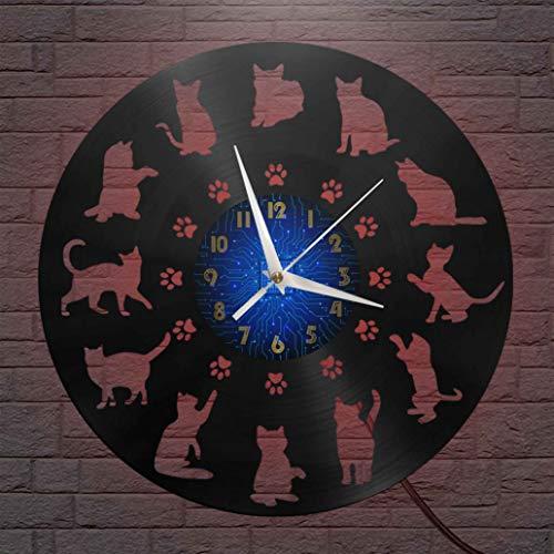Cat Action Elements - Reloj de pared con disco de vinilo de 12 pulgadas, reloj de pared de vinilo para cocina, hogar, sala de estar, dormitorio, escuela (B), con LED de regalo para hombres, regalo par