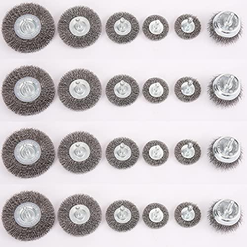 HOYIN Wire Wheel Cup Brush Set-Abrasive Brush Kit-Drill Accessories-24PCS(4 Pack HOYIN03222)