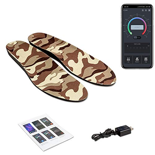 Axcuds Smart Electric Heated Shoes Insoles Foot Warmers Multiple Sizes APP Bluetooth Remote Control with Rechargeable Battery Powered for Hunting Fishing Hiking Camping Outdoor Sports (XL)