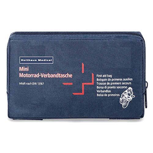 Holthaus Medical mini Motorrad Verbandtasche Erste-Hilfe-Tasche Notfall 17x10x3,5cm, inkl. DIN 13 167