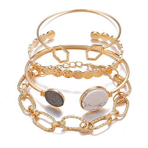 XSXCQ Juego de pulseras geométricas vintage para mujer con cadena geométrica de metal ajustable y abierta, set de regalo