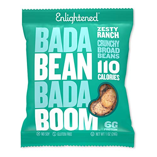 Bada Bean Bada Boom - Plant-Based Protein, Gluten Free, Vegan, Crunchy Roasted Broad (Fava) Bean Snacks, 100 Calories per Serving, Ranch, 1 oz, 24 Pack