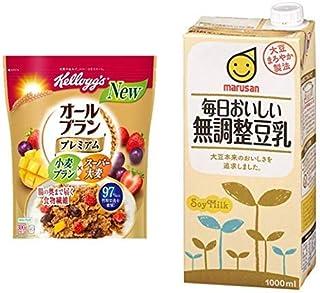 【セット買い】ケロッグ オールブランプレミアム 300g×6袋 + マルサン 毎日おいしい無調整豆乳 1000ml×6本